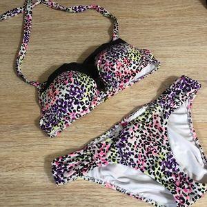 Victorias Secret Rainbow Cheetah Print Bikini Top